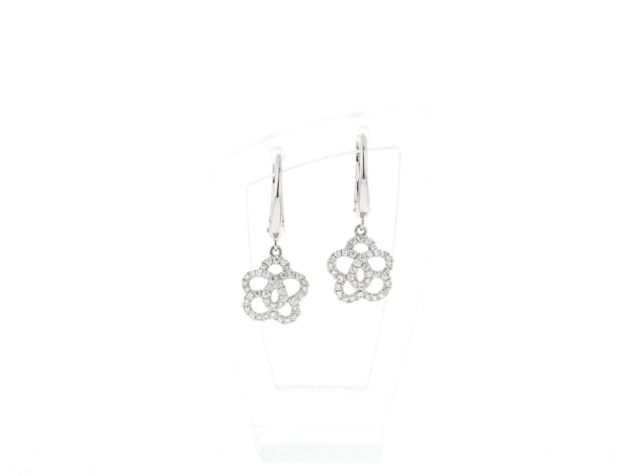18 ct white gold earrings set with white Diamonds