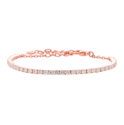 18 ct pink gold tennis bracelet set with white diamonds