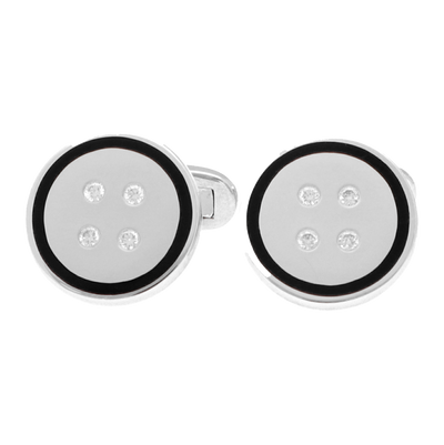 18 CT white gold and onyx cuff links