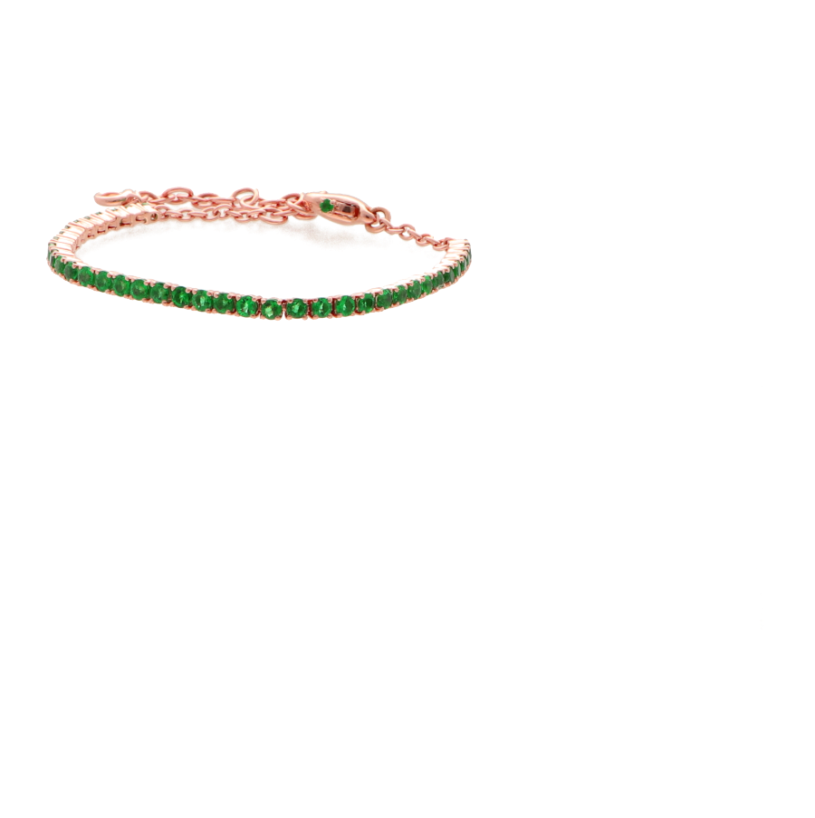 18 ct pink gold tennis bracelet with colombien  emeralds