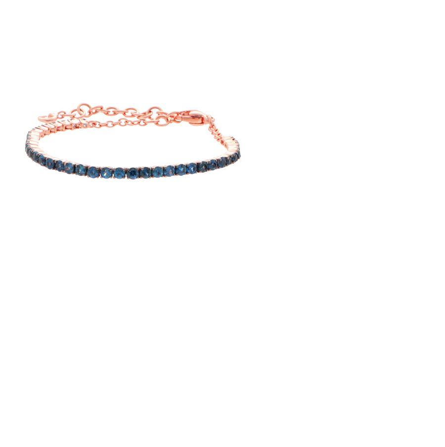 18 ct pink gold tennis bracelet with sapphire