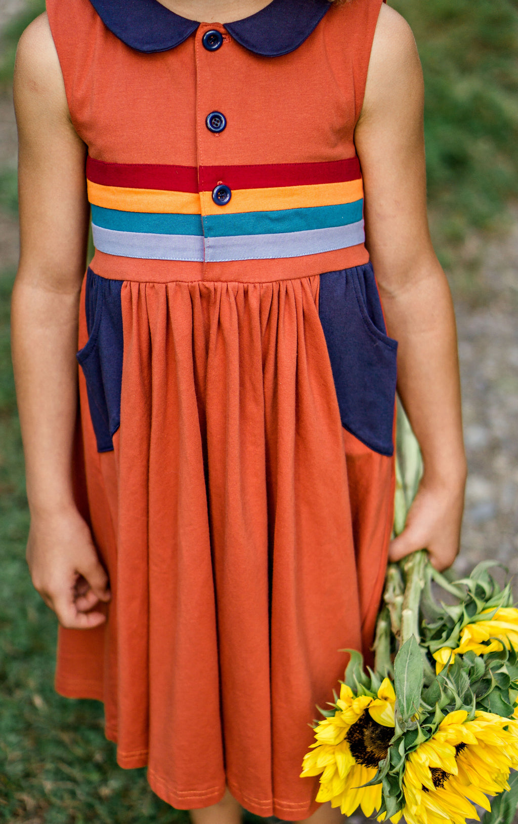 Peter Pan Collar dress- Earthy Rainbow