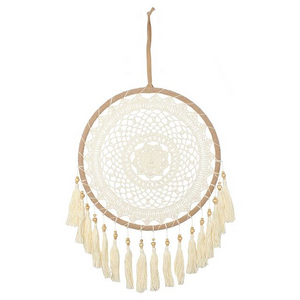 Cream Dreamcatcher with Tassels Large - Its Good To Be Home