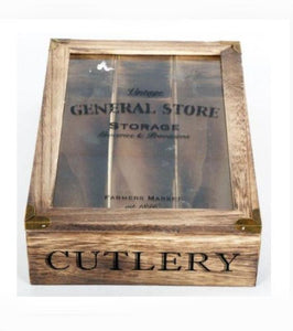 Rustic General Store Cutlery Wooden Tray - Its Good To Be Home