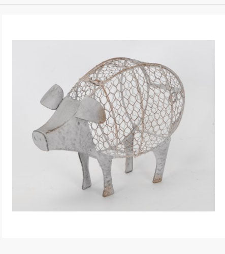 Distressed Wire Pig Basket - Its Good To Be Home
