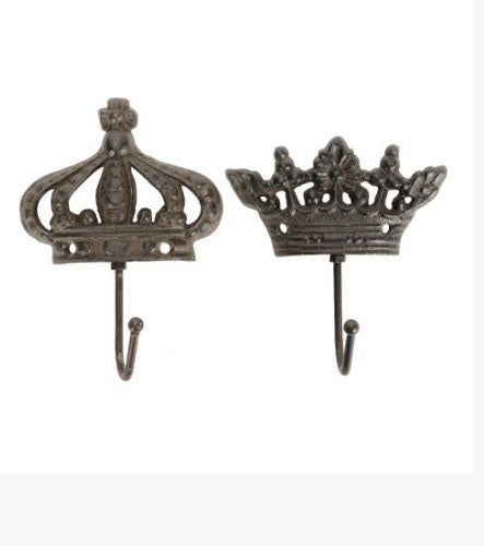 Set Of 2 Crown Coat Hooks Home & Garden - Its Good To Be Home