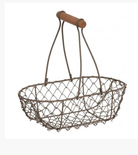 Rustic Long Handle Wire Oval Basket - Its Good To Be Home