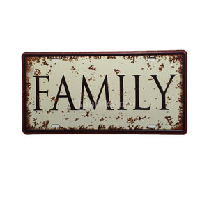 FAMILY Vintage Metal Tin Sheet Metal Sign Retro Picture Wall Decor Plaque Pub Tavern