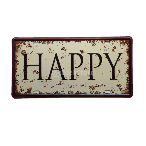 HAPPY Vintage Metal Tin Sheet Metal Sign Retro Picture Wall Decor Plaque Pub Tavern