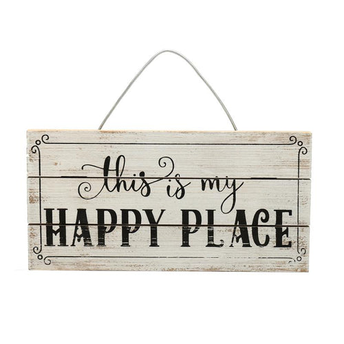 Retro Shabby Chic this is my HAPPY PLACE Wooden Sign for Home Hanging Art Decor Poster Wooden Wall Plaque Rectangular 30*15cm