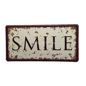 15cm x 30cm Retro Metal Tin Sign Plaque Vintage SMILE Picture Car Plate Pub Man Cave