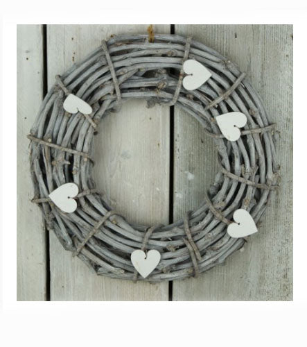Shabby Chic Grey Wicker Wreath W/Heart - Its Good To Be Home