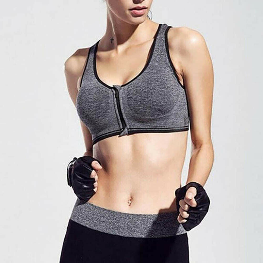Women Zipper Push Up Sports Bra