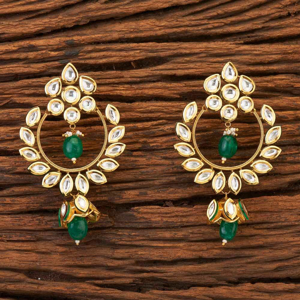 Be Beautiful Kundan Chand Earrings-Green
