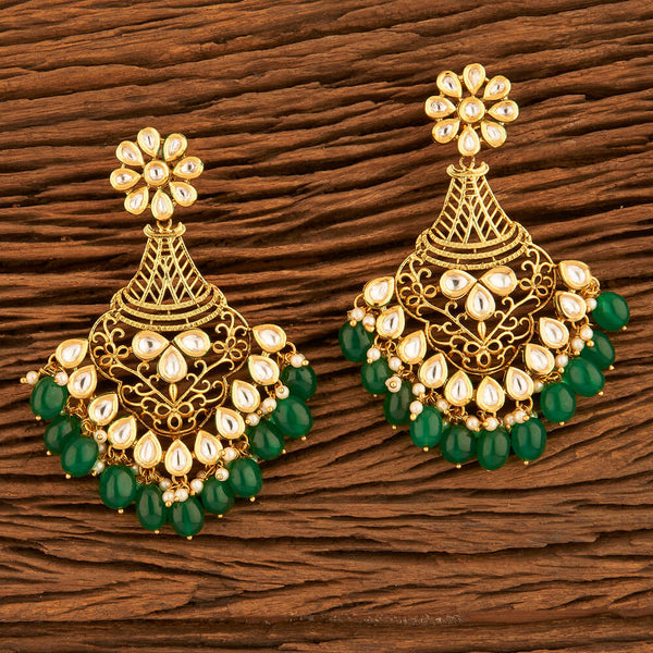 Be Beautiful Kundan Long Earrings-Green