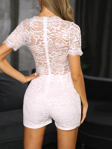 solid-color-sexy-v-neck-short-sleeve-lace-embroidery-romper -Findalls
