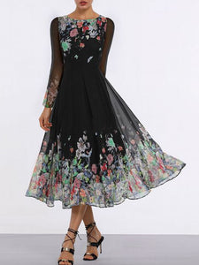 floral-long-sleeve-midi-x-line-dress -Findalls