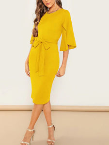split-sleeve-belted-pencil-dress -Findalls