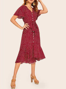 polka-dot-ruffle-hem-self-tie-dress -Findalls