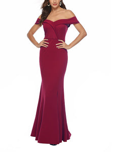v-necked-hot-red-banquet-evening-dress -Findalls