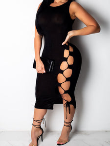lovely-casual-lace-up-hollow-out-black-mid-calf-dress -Findalls