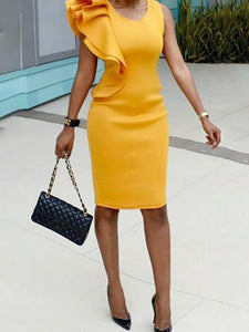 stylish-ruffled-patchwork-sleeveless-bodycon-dress -Findalls