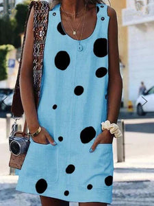 floral-print-crew-neck-casual-sleeveless-shift-dress -Findalls