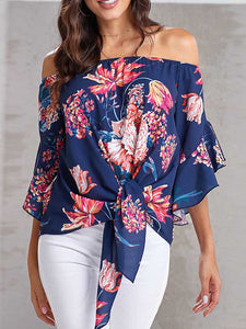 off-the-shoulder-flare-sleeve-knot-blouse -Findalls