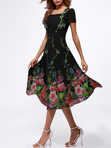 floral-short-sleeve-midi-a-line-dress -Findalls