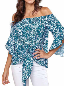 boho-off-the-shoulder-knot-open-sleeve-blouse -Findalls
