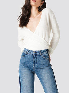 Deep V-Neck Cross Wrap Front Loose Sweater