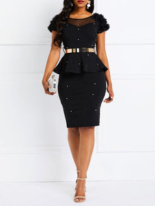 solid-color-round-neck-short-sleeve-bead-elegant-ruffles-bodycon-dress -Findalls