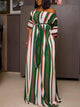 half-sleeve-colorful-striped-maxi-dress -Findalls