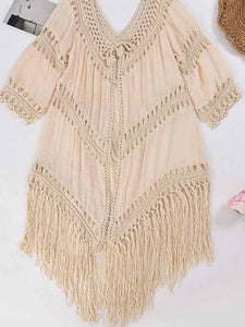 hollow-tassels-cover-up-swimsuit-set -Findalls