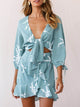tie-front-three-quarter-sleeve-dress-sage -Findalls