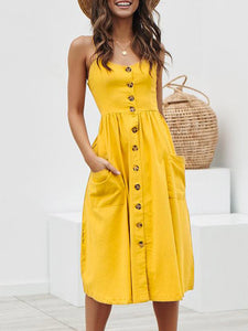 sexy-off-shoulder-sleeveless-spaghetti-strap-draped-button-a-line-dress -Findalls