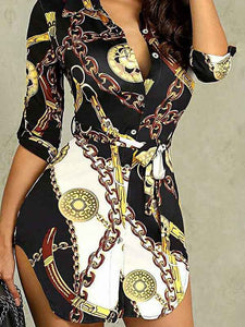 deep-v-neck-chain-print-shirt-dress -Findalls