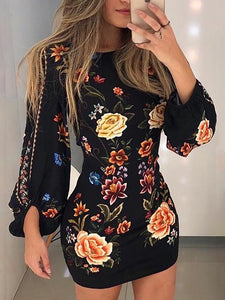 cutout-back-bishop-sleeve-floral-dress -Findalls