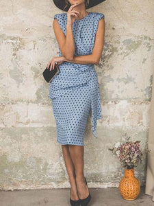 polka-dot-buttons-sleeveless-knee-length-sheath-dress -Findalls