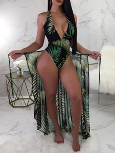 leaf-print-one-piece-swimwear-with-cover-up -Findalls