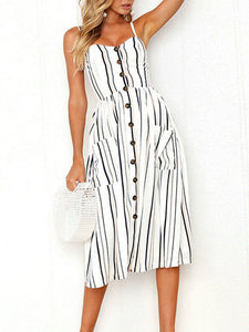 sexy-off-shoulder-spaghetti-strap-3d-print-button-tunic-casual-a-line-dress -Findalls