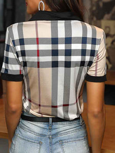 grid-short-sleeve-turn-down-collar-t-shirt -Findalls