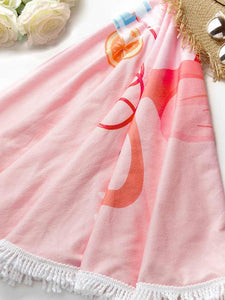 flamingo-round-beach-towel-with-tassel -Findalls