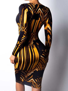 abstract-pattern-deep-v-neck-long-sleeve-dress -Findalls