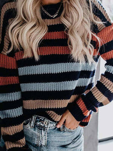 Women Striped Long Sleeve Casual Sweater