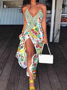 boho-print-high-slit-deep-v-slip-maxi-dress -Findalls