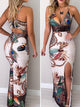 peacock-feather-print-thigh-slit-slip-dress -Findalls