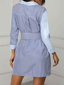 colorblock-striped-insert-shirt-dress -Findalls