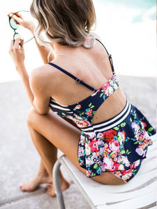 waisted-stripe-floral-print-ruffle-tankini-swimsuit -Findalls
