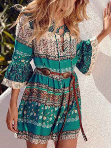 v-neck-lac-up-3-4-sleeve-ruffled-casual-beach-dress -Findalls
